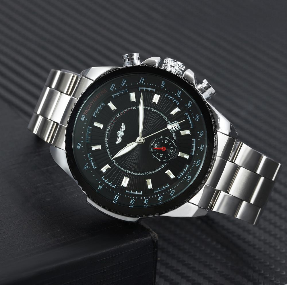 WINNER Official Mens Watches Top Brand Luxury Automatic Mechanical Watch Men Stainless Steel Strap Auto Date Business Wristwatch