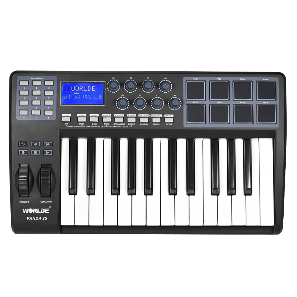 25-Key Ultra-portable USB MIDI Keyboard 8 Drum Pads Controller With USB Cable Durable USB MIDI Keyboard