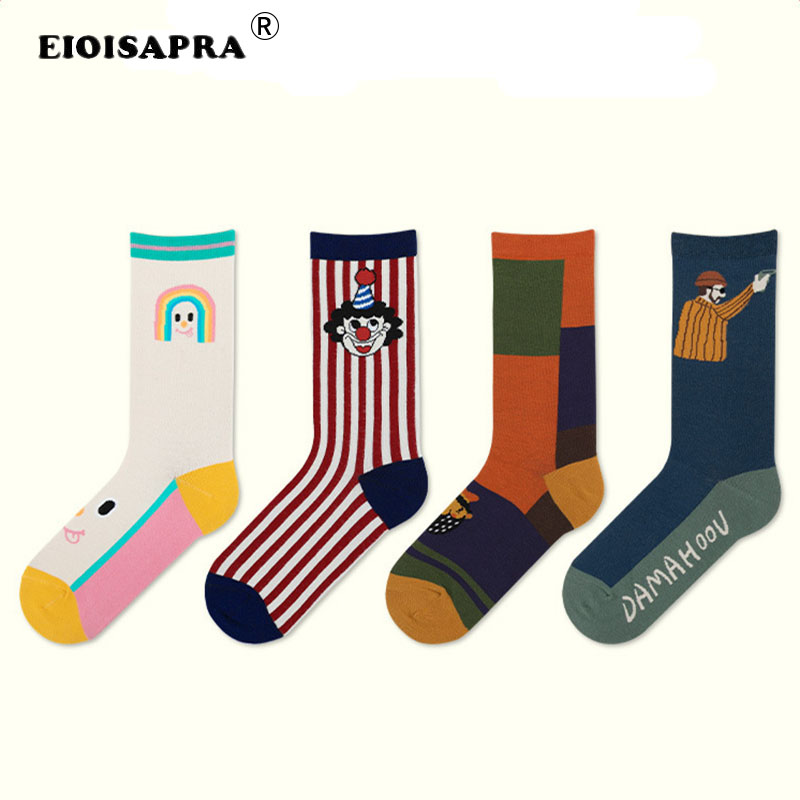 [EIOISAPRA]2020 Spring Summer Fashion Harajuku Cartoon Illustration Couples Socks Personality Trend Breathable Funny Socks