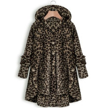 Winter Fashion Women Button Irregular Leopard Coat Hoodies Loose Plus Size 4xl Casual Fleece Hooded Teddy Coat Solid Jacket(China)