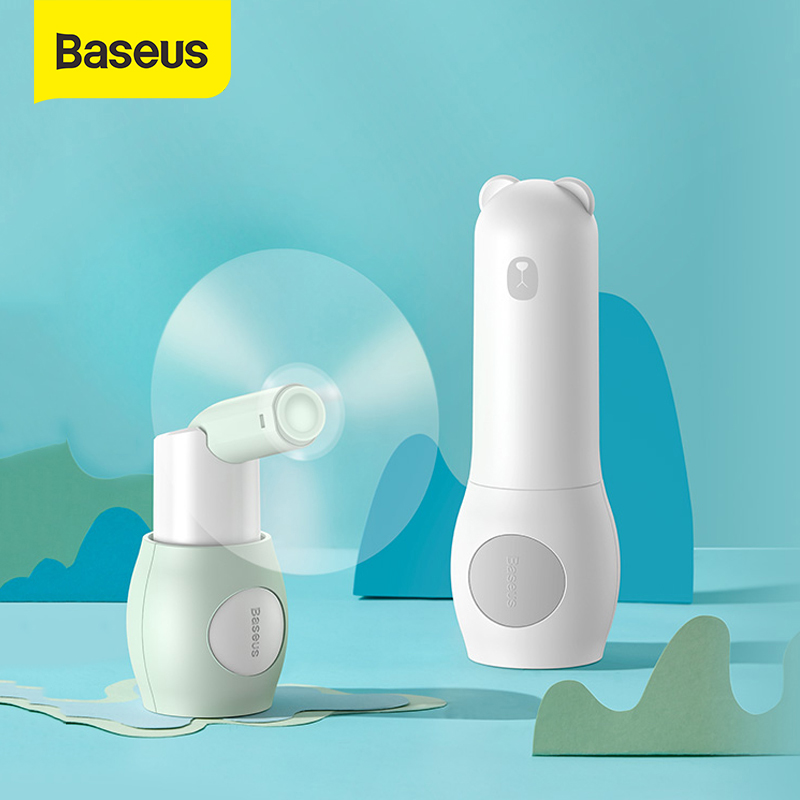 Baseus 2000mAh Portable Cooling Mini USB Fan 2 Speed Silent Small Fan Rechargeable Air Fan Handheld Outdoor USB Fan Desktop Fan