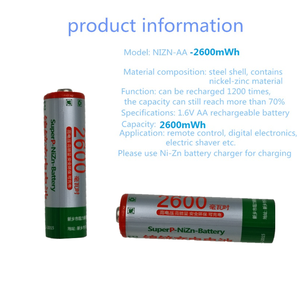 Image 3 - كفاءة عالية للطاقة وانخفاض التفريغ الذاتي قابلة للشحن 1.6 فولت AA AAA Ni Zn البطارية مع 2 طريقة شاحن بطارية ذكي