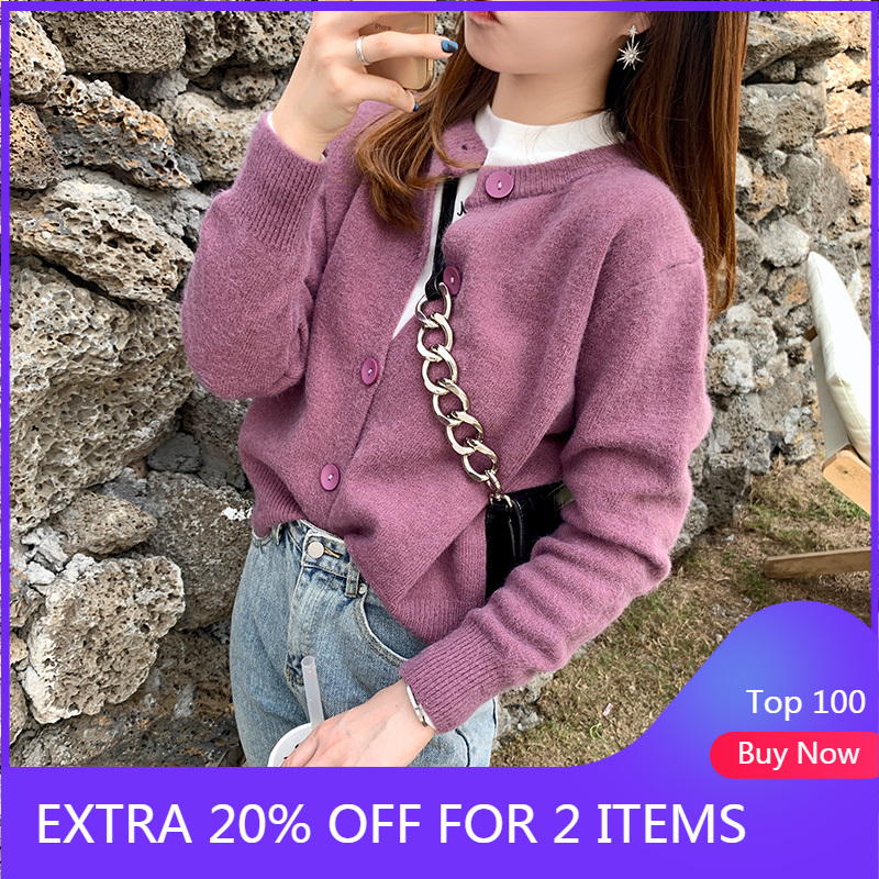 Mishow Spring 2020 Fashion New Short Sweater Women Long Sleeve Kintted Cardigan Solid Female Outwear Tops MX20A5257