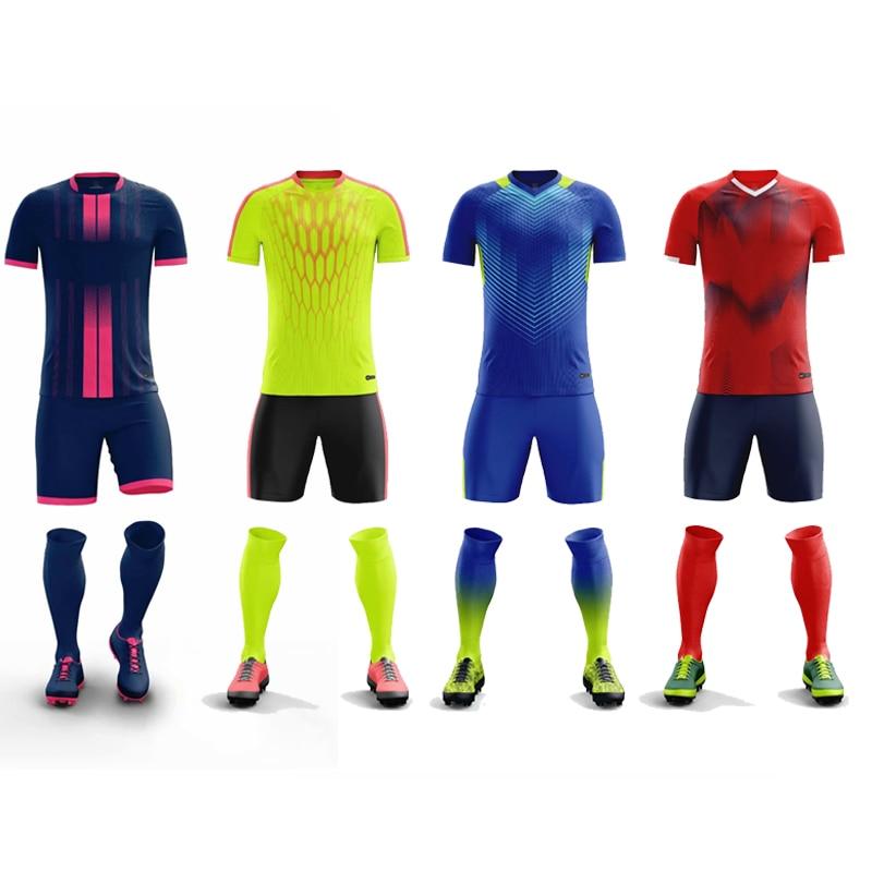 Survetement Voetbal 2019 Kids Mannen Voetbalshirts Set Lege Voetbal Trainingspak Ademend Team Voetbalshirts Uniformen