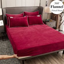 WOSTAR zimowe ciepłe stałe flanelowe elastyczna opaska dopasowane prześcieradło pokrycie materaca super miękkie królowa łóżko typu king size blachy i poszewki na poduszki