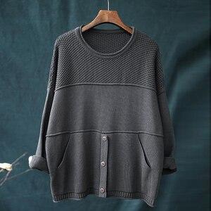 Image 2 - Johnature suéteres de punto de manga larga para mujer, jerseys holgados con cuello redondo para otoño e invierno, jerséis que combinan con todo, 2020