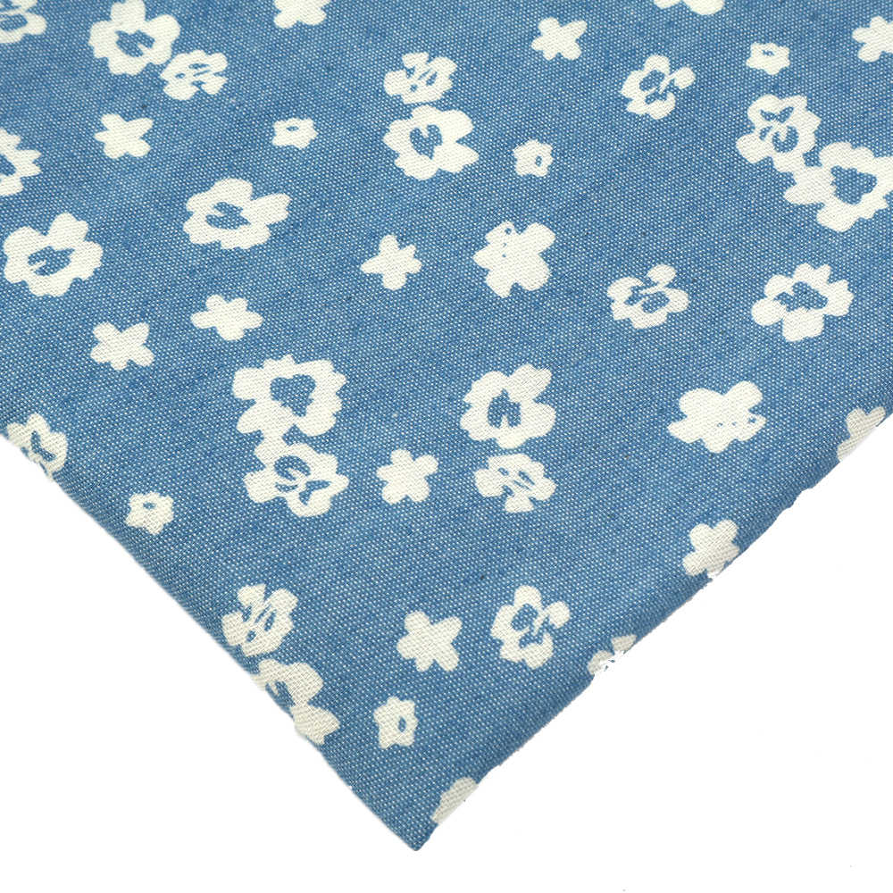 20*34cm Star Flower Dots Printed Jean Cloth Fabric Sheet Denim Fabric DIY Handmade Materials for Bag Pants Cloth,1Yc6769