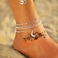 Si moi bohème couche chaîne lune soleil Bracelet sur jambe bracelets de cheville pour femmes Vintage argent réglable métal cheville plage bijoux nouveau