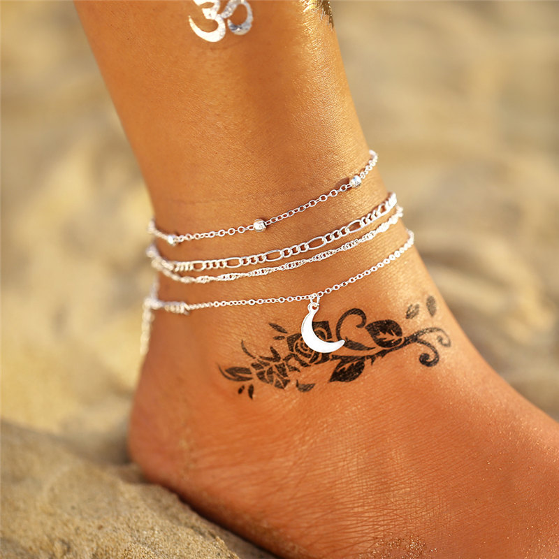 IF ME Bohemian Layer Chain Moon Sun Bracelet on Leg Anklets for Women Vintage Silver Adjustable Metal Anklet Beach Jewelry New