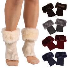 Vintage Women Solid Color Faux Fur Cuff Crochet Knit Boots Sock Short Mini Leg Warmers
