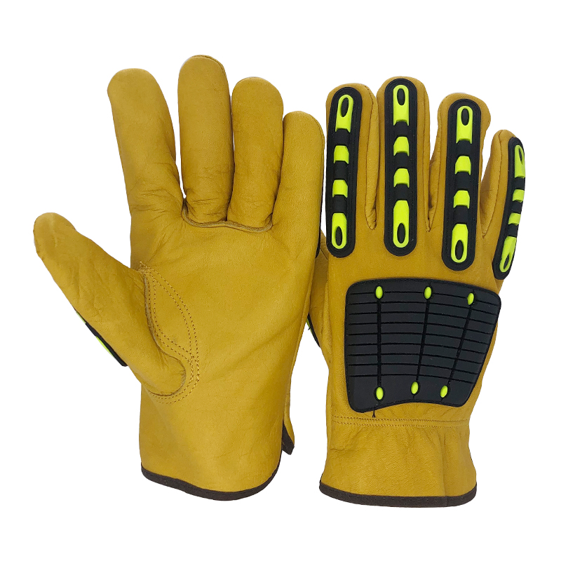 RJS Safety Mechanic Work Gloves Men Motorcycle Cowhide Grain Leather Tactical Working Garden Sports Glove  For Men&Women NGK1001