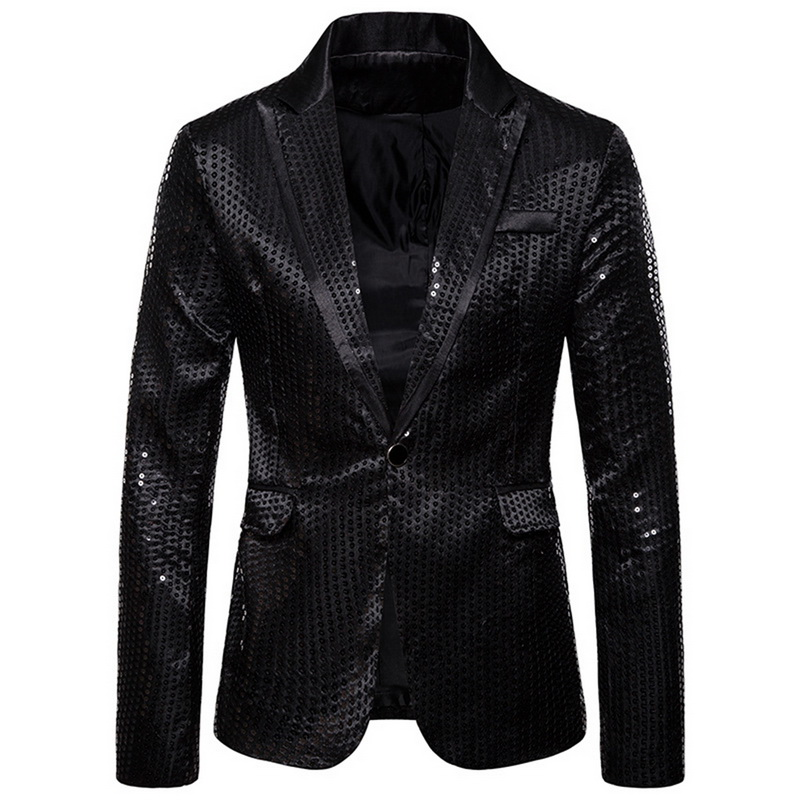 Fashion Shiny Men Blazer Sequin Design Luxury Mens Suit Jackets Slim Party Terno Masculino DJ Stage Blazers Jacket 2019