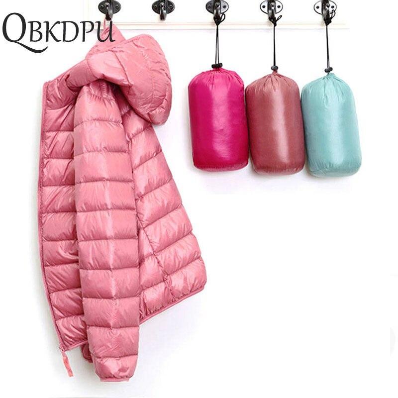 Winter Women Ultra Light   Down   Jacket White Duck   Down   Hooded Jackets Long Sleeve Warm   Coat   Parka Female Solid Portable Outwear