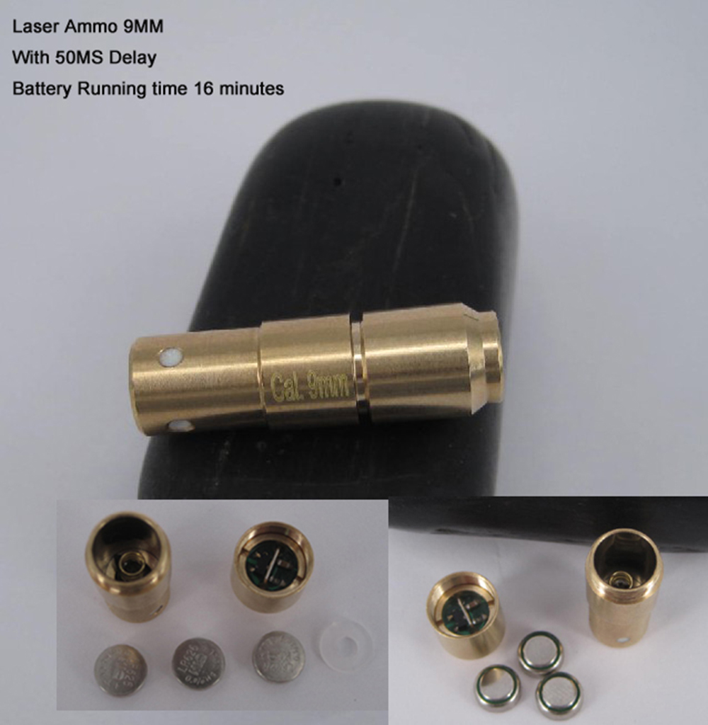 9mm Laser Ammo Bullet Cartridge Dry Fire Training Bore Sight Shooting Simulation