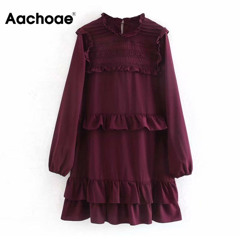 Women Stylish Lace Ruffles Mini Dresses Long Sleeve Vintage Wine Red Dress Loose O Neck Casual Elegant Dress Vestidos 2020