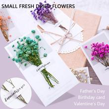 # H30 dzień ojca kartka z życzeniami błogosławieństwo mała karta osobowość suszony kwiat dzień ojca prezenty dla taty sztuczne suche kwiaty tanie tanio ISHOWTIENDA Dried Flower Suszone kwiaty Kwiat Oddział Papier