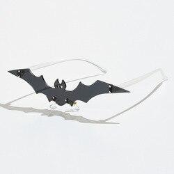New Unique Halloween flying bat sunglasses Unisex festival decoration Cool Funny Glasses one piece Rimless Sunglasses Vintage