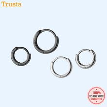 TrustDavis Customize Made 100% 925 Sterling Silver Gold Smooth Surface Hoop Earrings DA432