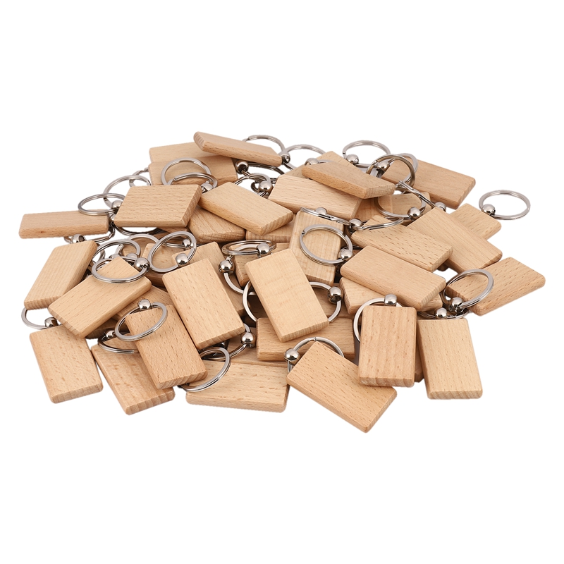 50 Blank Wooden Keychain Rectangular Engraving Key ID Can Be Engraved DIY