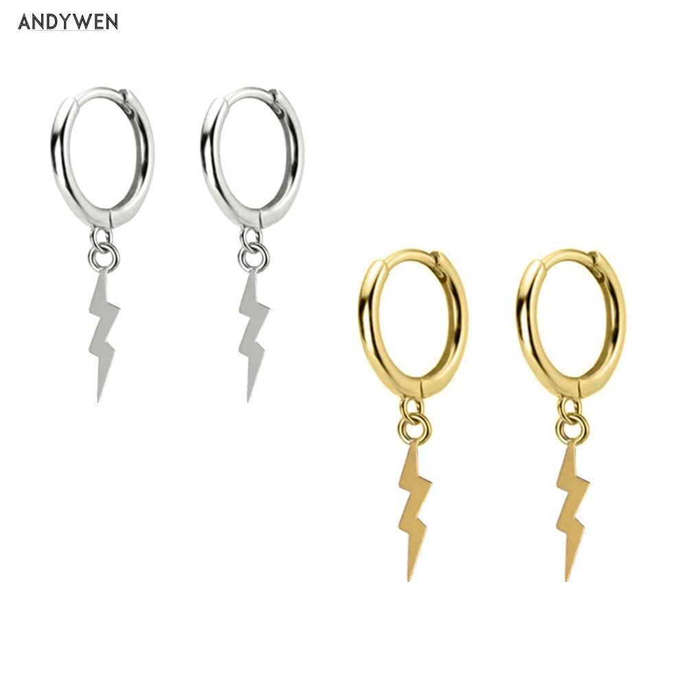 Женские круглые серьги ANDYWEN, сережки-подвески с тремя осветительными подвесками, 9 мм, из стерлингового серебра, роскошные ювелирные украшен...