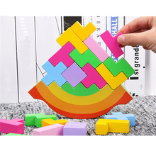 2021 Colorful Puzzles Tetris Wooden Stacking Balance Toys 3D Puzzle Preschool Game Kids Color Perception Toys Creative Gift