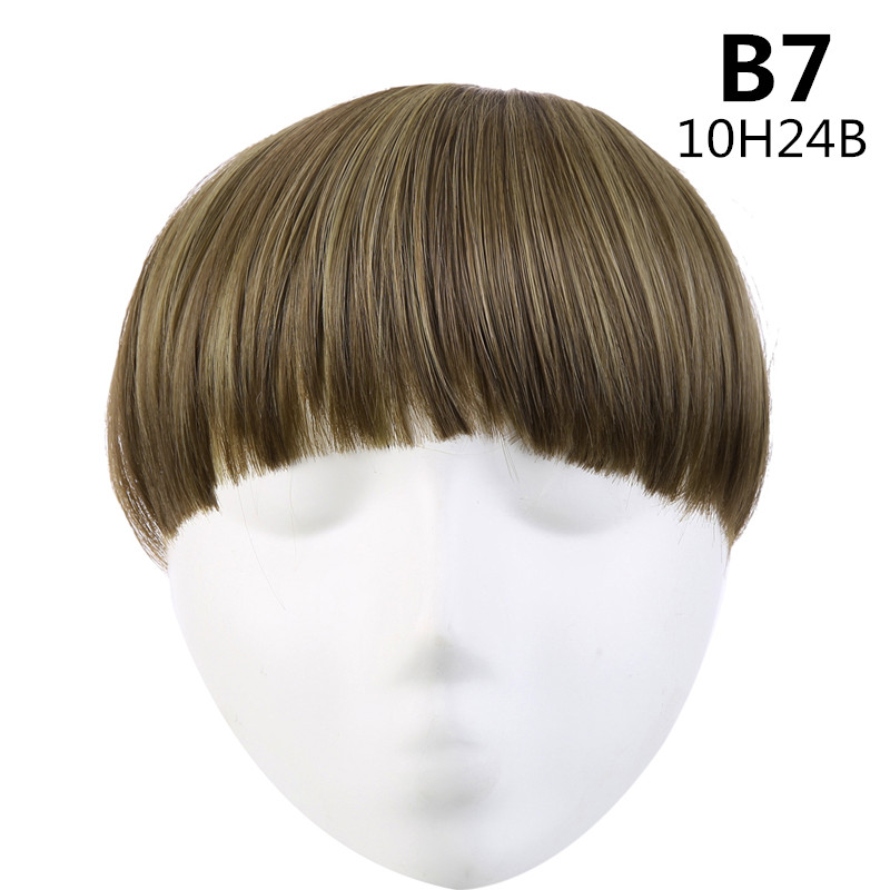 SARLA волосы челка клип в подметание боковая бахрома поддельные накладные взрыва натуральные синтетические волосы кусок волос черный коричневый B2 - Цвет: 10H24B