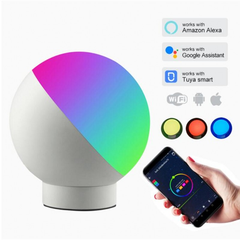 New AliExpress Smart Wifi LED Desk Lamp Dimmable Multicolored Timer Music Night Light APP Voice Control Bedside Desk Lamp