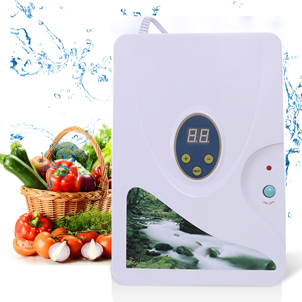 Ozone Generator Vegetable Fruit Meat Disinfection Sterilizer Cleaner Digital Timer Ionizer Ozone Water Purifier Sterilizer 600mg