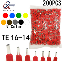200pcs/Pack TE 16-14 Insulated Ferrules Terminal Block Double Cord Terminal Copper Insulated Crimp terminal Wires 2x4.0mm2 стоимость