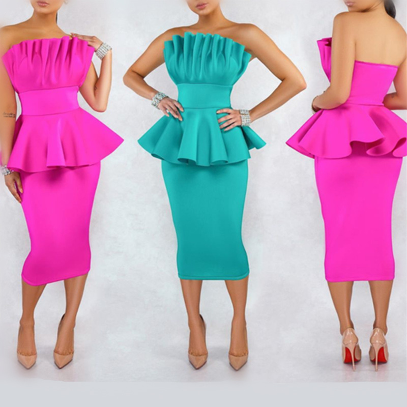 New Fashion Fuchsia Cocktail Dresses Strapless Sleeveless Ruffle Women Arabic Sexy Teal Green High Quality Formal Party Gown