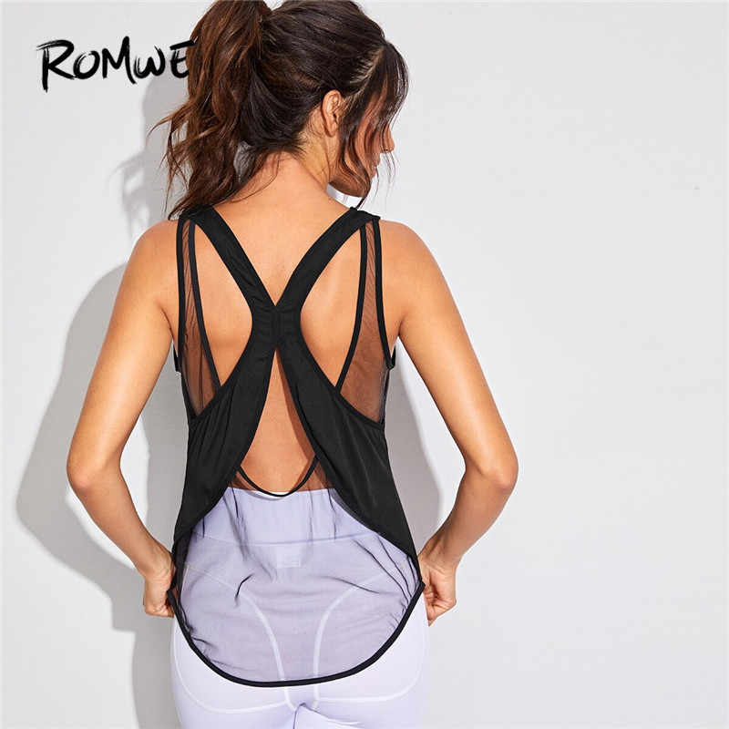 Romwe Sport Contrast Mesh Gym Tank Top Women Sexy Round Neck Sleeveless Yoga Shirt Workout Tops for Women Black Fitness Top