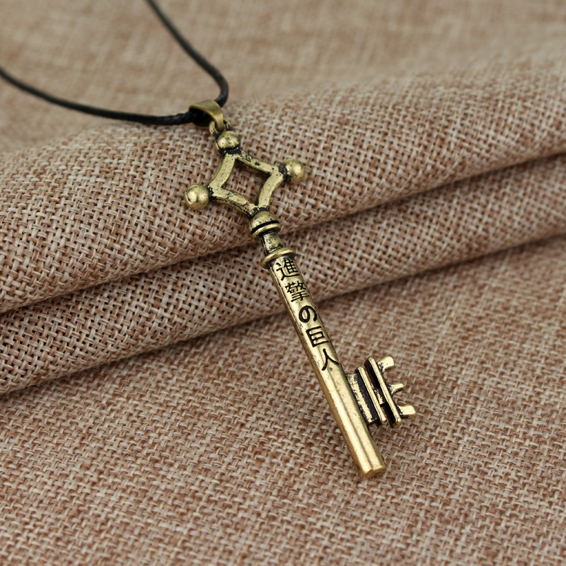 Металлический брелок для ключей, подвеска, ожерелье «атака на Титанов», ожерелье для ключей Эрена, мультяшная игрушка для косплея, экшн-фигу...