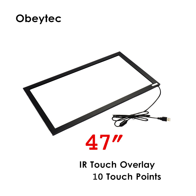 In stock 47 IR touchscreen frame overlay kit without glass, usb touch screen plug and play 10 points