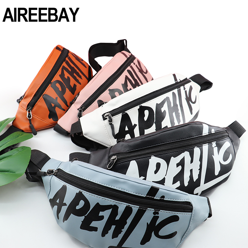 AIREEBAY Fashion Women PU Leather Waist Bag Casual Feamle Fanny Pack Korean Style Belt Bag Travel Money Pouch