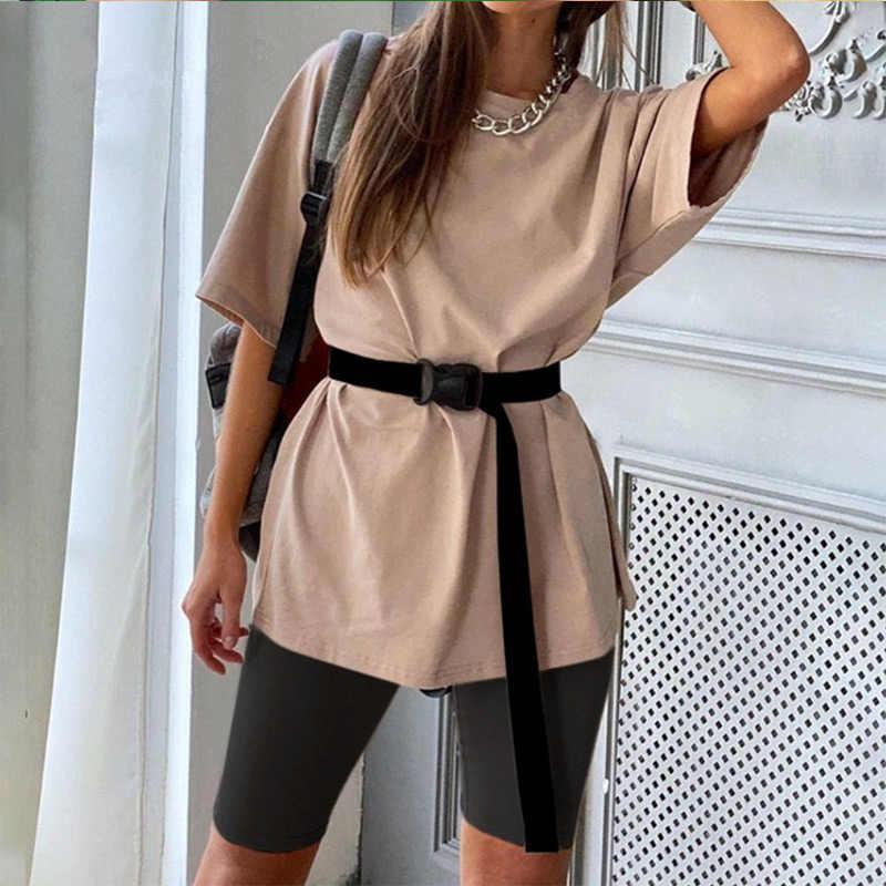여름 캐주얼 여성 2 조각 세트 벨트 단색 2 세트 스포츠 여성 2020 패션 티셔츠와 반바지 레저 슈트
