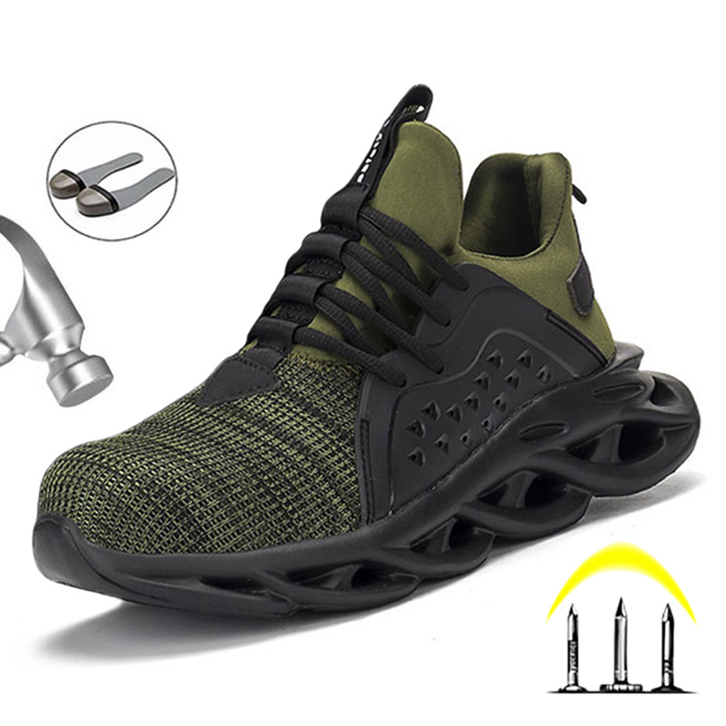 Breathable Safety Shoes Men Boots Anti-Smashing Construction Work Sneakers Lightweight Steel Toe Cap Work Safety Boot For Men