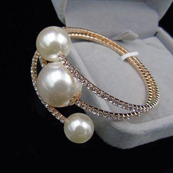 Trendy Rhinestone Silver Plated   pearl bracelet 2