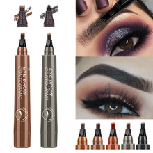 5 Colors Eyebrow Pen Microblading Waterproof 4 Fork Tip Eyebrow Tattoo Pencil Cosmetic Long Lasting Natural Dark Brown Liquid