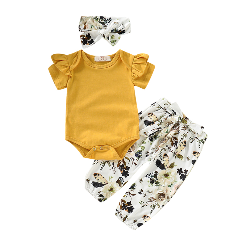 Summer Toddler Baby Girl Newborn Set Girl Romper Floral Pants Headband 3pcs Outfits Infant Clothing Set