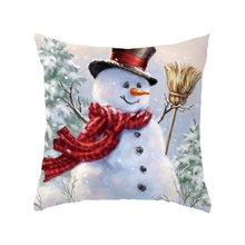 Christmas Series Pillowcase Snowman Sofa Cushion Cover Home Decoration Decorative Pillowcase snowman print cushion cover pillowcase