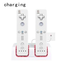 Charging Station Dual Charger Dock for Wii Remote Controller Gaming Handle Controller with LED Indicator USB Charging Cord discounts double dual remote charger dock sation 2 battery for nintendo wii remote l3ef