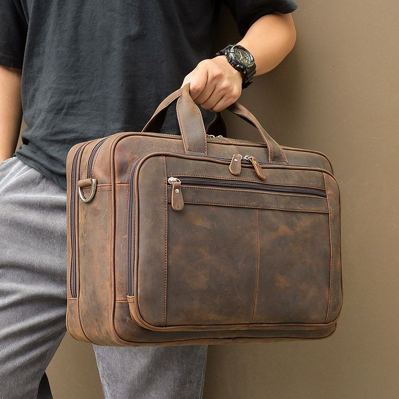 Nesitu Black Coffee Brown Genuine Crazy Horse Leather Business Travel Men Messenger Bags 17'' Laptop Briefcase Portfolio M7320