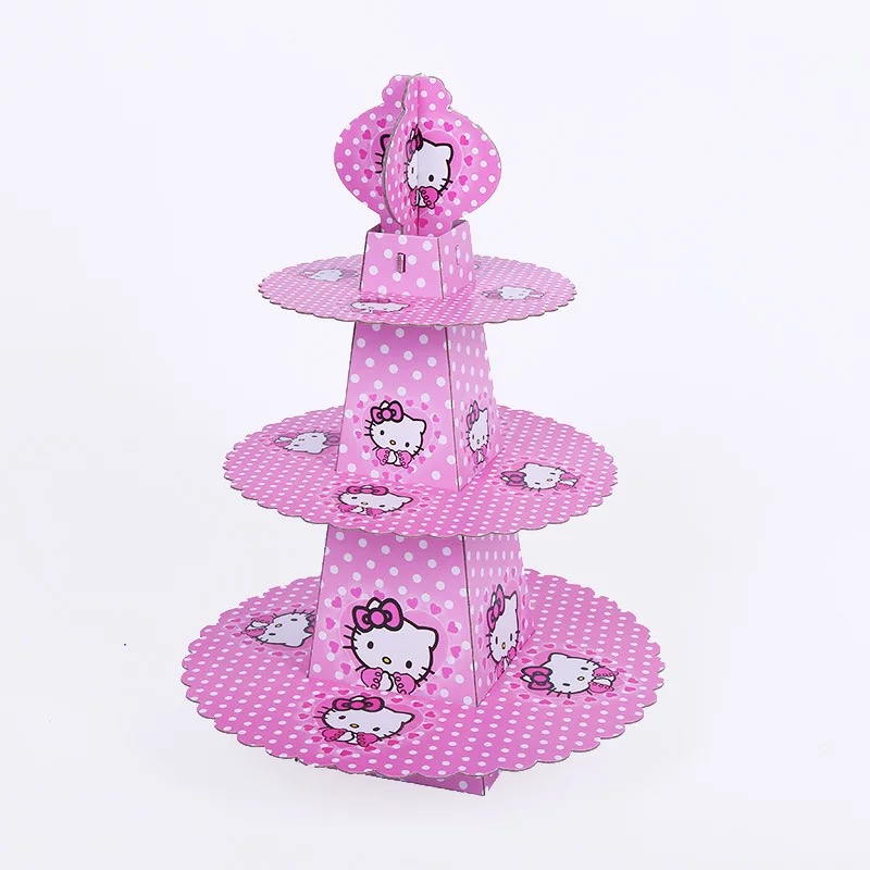 1set Cartoon Anime Hello Kitty Baby Shower Birthday Party Decorations Supplies Cardboard Cup 3 Tier Cake Stand Hold 24 Cupcakes