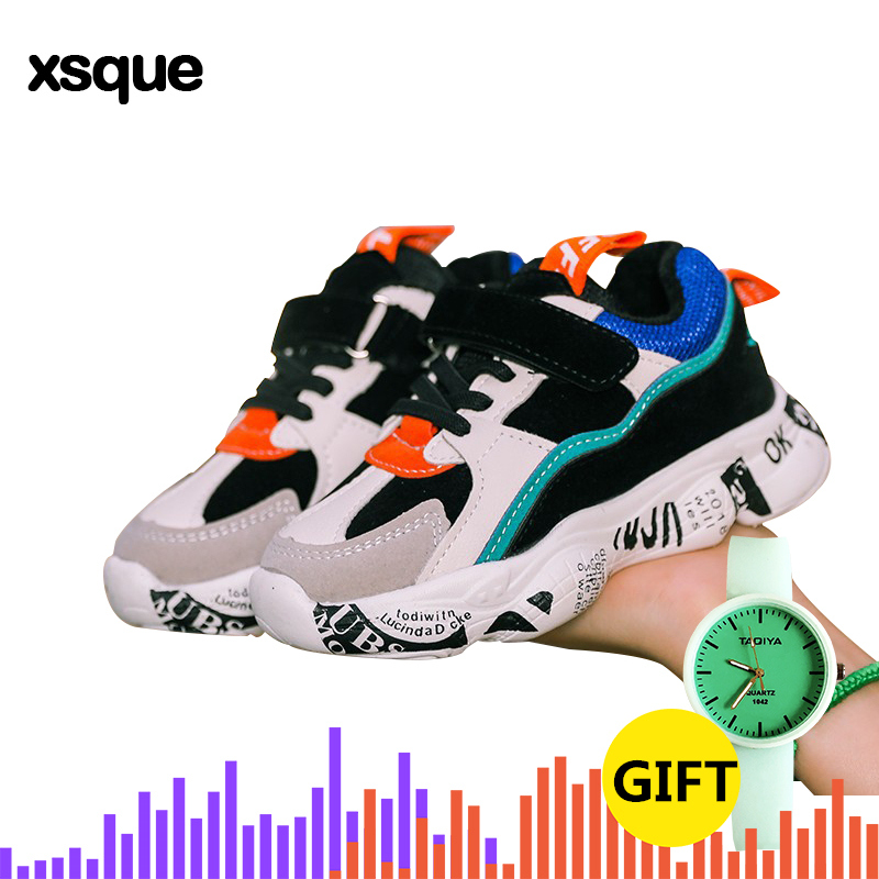 2019 Winter Kids Sports Shoes Children Casual Boys Patchwork Sneaker Fashion Autumn Graffiti Girls Student Boots Anti Slippery-in Sneakers from Mother & Kids