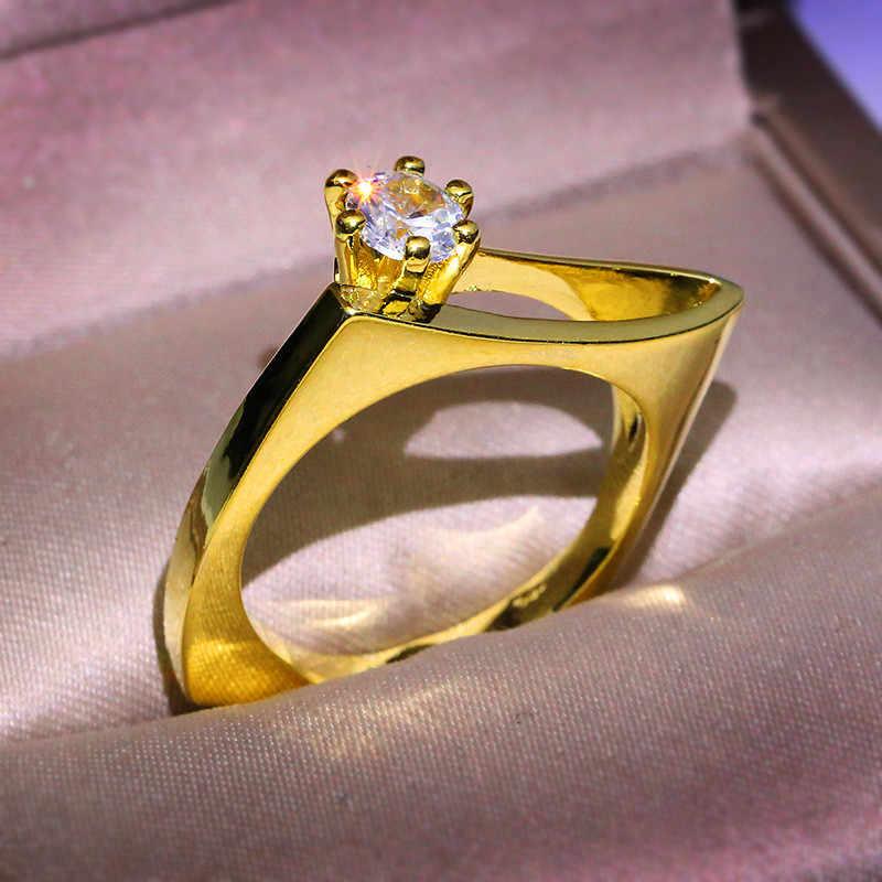 الفاخرة الإناث الكريستال الزركون الحجر الدائري مجموعة سحر الذهب الأصفر جولة هندسية خاتم الخطوبة خمر خواتم الزفاف للنساء