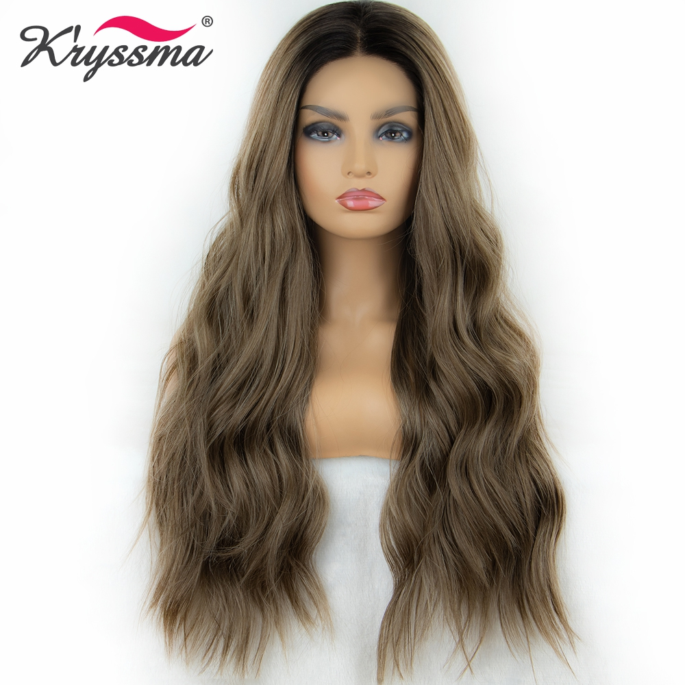 Kryssma 13x3 Lace Brown Wig Synthetic Lace Front Wig Wavy Long Cosplay Wigs For Black Women Heat Friendly Lace Front Wigs