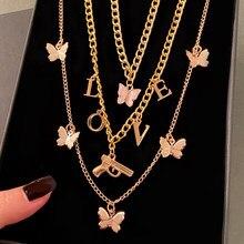 EN – collier avec pendentif EN forme de lettre d'amour pour femmes, couleur or, chaîne multicouche, clavicule, papillon, cadeau, bijoux
