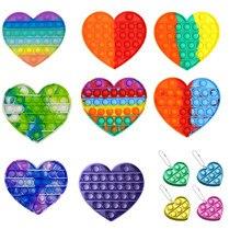 Empurrar bolha fidget antiestresse brinquedos adultos crianças arco-íris em forma de coração pop brinquedo sensorial autismo necessidades especiais alívio do estresse