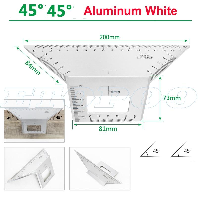 Алюминиевый сплав 45 градусов 90 градусов деревообрабатывающий Многофункциональный квадратный Измеритель угла транспортир над линейкой - Цвет: 45 degree white