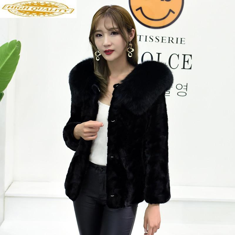 Real Mink Coat Female Jacket Winter Jacket Women Clothes 2019 Fox Fur Collar Natural Fur Jackets Chaqueta Mujer MY4137